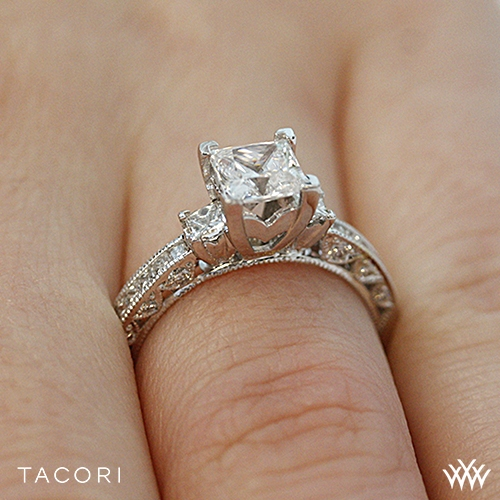 Tacori Classic Crescent Channel Set Three Stone Engagement Ring 2847