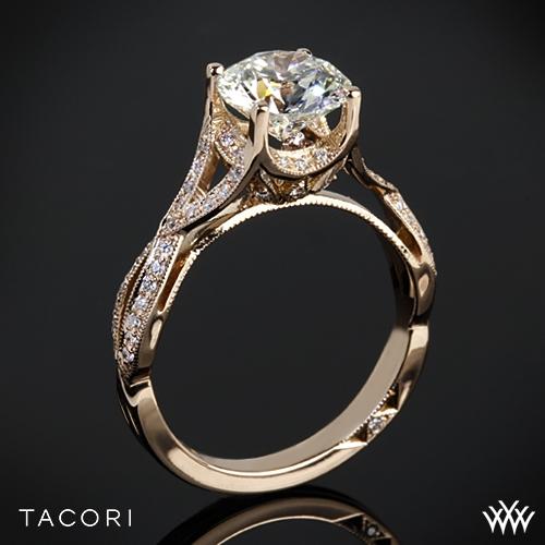 Tacori 2565MDRD Ribbon-Twist Millgrain Diamond Engagement Ring