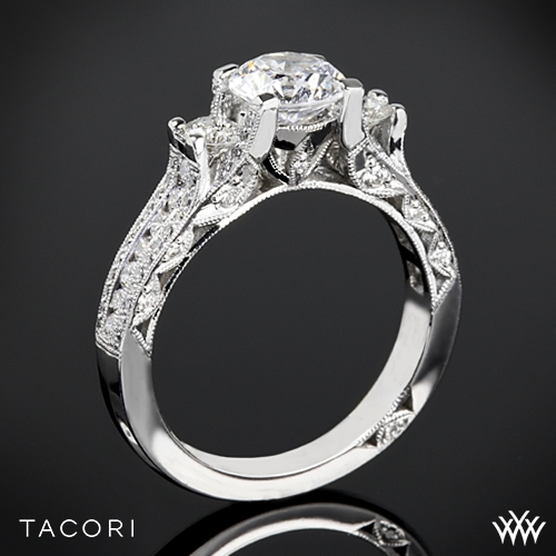 Tacori HT2514RD Classic Crescent Pave Three Stone Engagement Ring