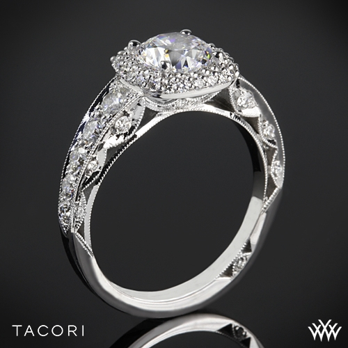 Tacori HT2516CU Blooming Beauties Cushion Double Bloom Diamond Engagement Ring
