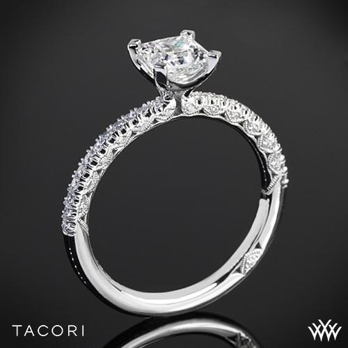 Tacori HT2545PR Petite Crescent Scalloped Millgrain Diamond Engagement Ring for Princess