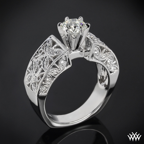 """Elegant Petals"" Diamond Engagement Ring"