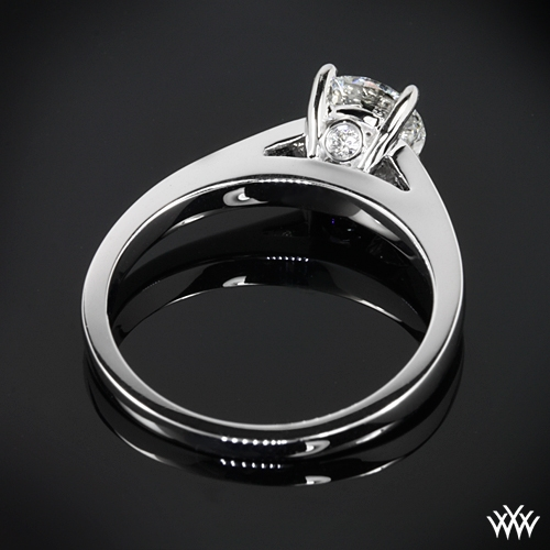 """Flush-Fit Cathedral"" Solitaire Engagement Ring Ring Back View"