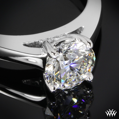 """Flush-Fit Cathedral"" Solitaire Engagement Ring Ring Zoomed View"