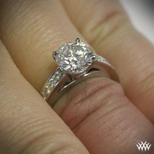 Flush fit diamond engagement ring