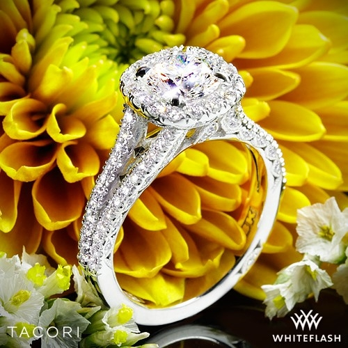 Tacori HT2548CU Petite Crescent Split Shank Halo Diamond Engagement Ring