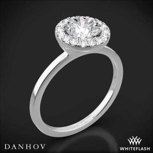 Danhov LE104 Per Lei Single Shank Halo Solitaire Engagement Ring