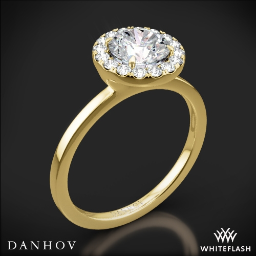 Danhov LE104 Per Lei Single Shank Halo Solitaire Engagement Ring