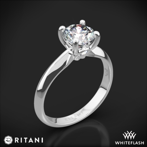 Ritani 1RZ7264 Knife-Edge Surprise Diamonds Solitaire Engagement Ring