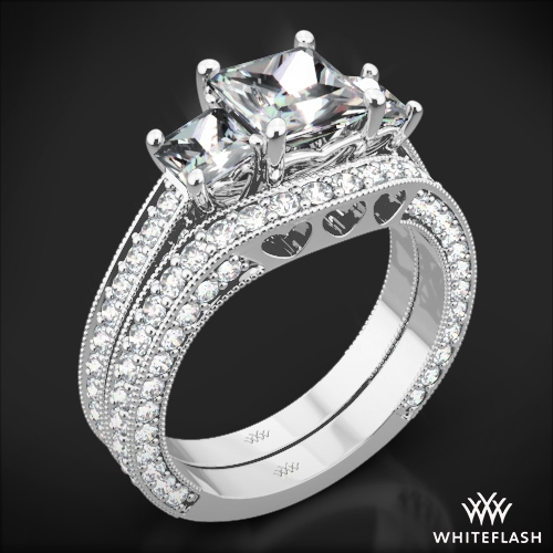 Coeur de Clara Ashley Three Stone Wedding Set for Princess