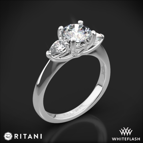 Ritani 1RZ1010P Three Stone Engagement Ring with Pear-Cut Diamonds