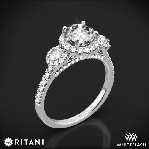 Ritani 1RZ1326 Halo Three Stone Engagement Ring