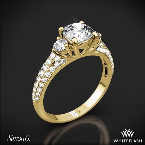 Simon G. MR2208 Caviar Three Stone Engagement Ring