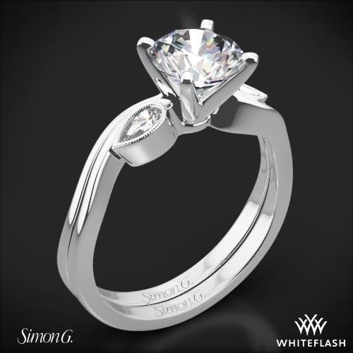 Simon G. MR2342 Dutchess Three Stone Wedding Set