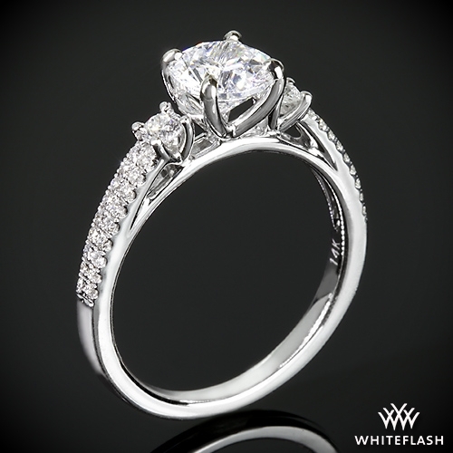 Twin Band 3 Stone Diamond Engagement Ring
