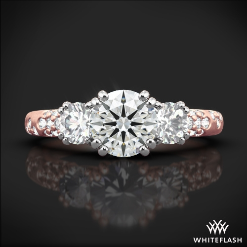 Petite 3 Stone Champagne Diamond Engagement Ring