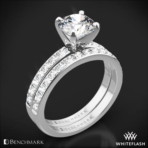 Benchmark Large Pave Diamond Wedding Set