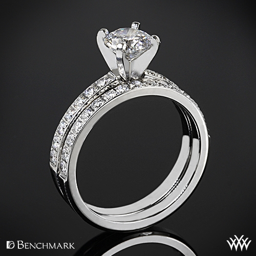 Benchmark Large Pave Diamond Wedding Set