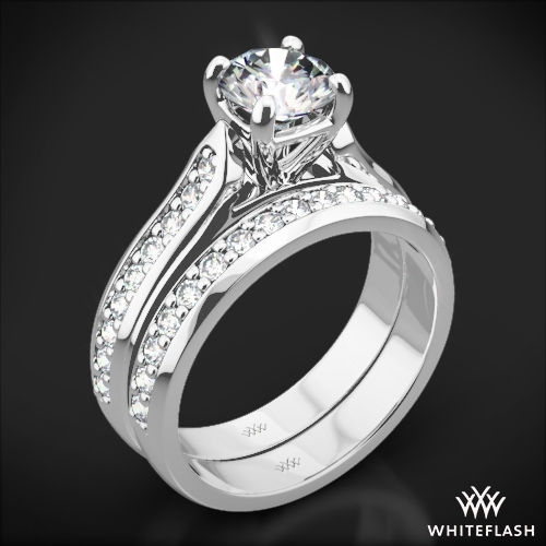Cathedral Pave Diamond Wedding Set
