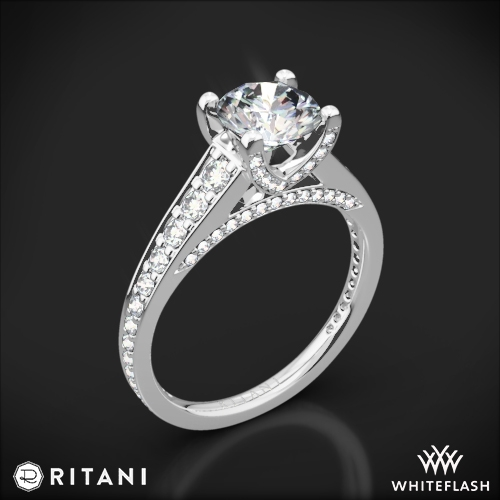 Ritani 1RZ2378 Tapered Pavé Diamond Engagement Ring