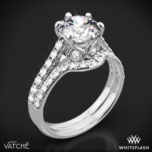 Vatche 1054 Swan French Pave Diamond Wedding Set
