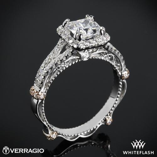 Verragio DL-107CU Pave Cushion Halo Diamond Engagement Ring