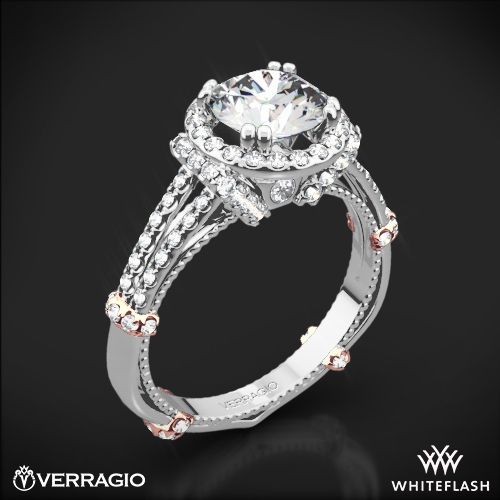 Verragio DL-117R Dual Claw Split Shank Halo Diamond Engagement Ring