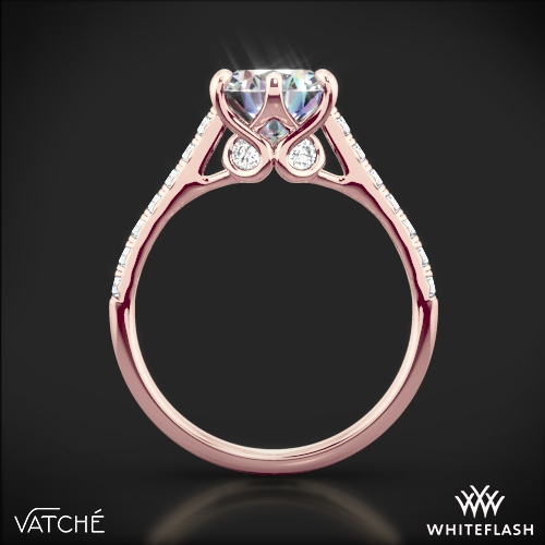 afbacee7fcab2 18k Rose Gold Vatche 1054 Swan French Pave Diamond Engagement Ring