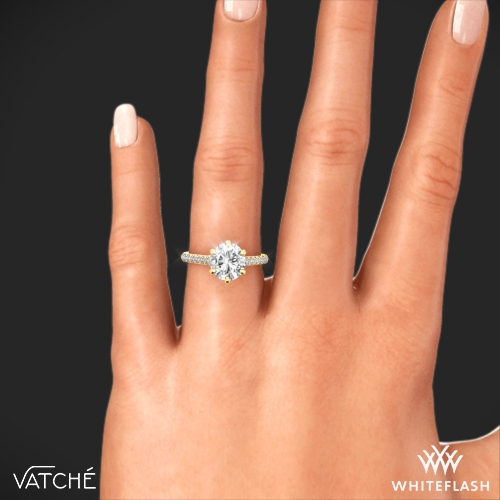 1b460a7156720 18k Yellow Gold Vatche 1054 Swan French Pave Diamond Engagement Ring