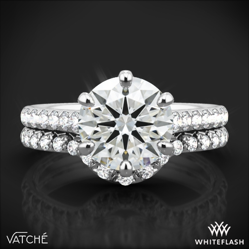 9f9651c653551 18k White Gold Vatche 1054 Swan French Pave Diamond Wedding Set