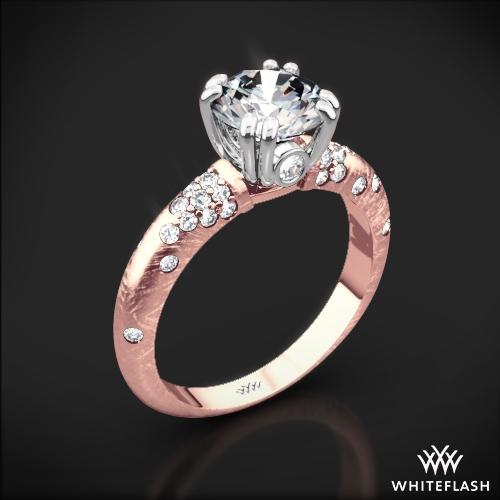 Petite Champagne Pave Diamond Engagement Ring