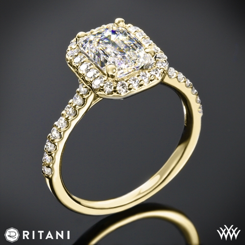 Ritani 1EMZ1323 French-Set Halo Diamond Engagement Ring for Emerald