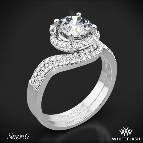 Simon G. MR2533 Passion Halo Diamond Wedding Set