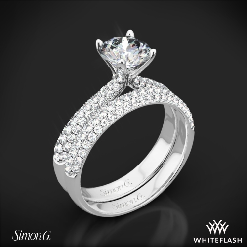Simon G. TR431 Caviar Diamond Wedding Set