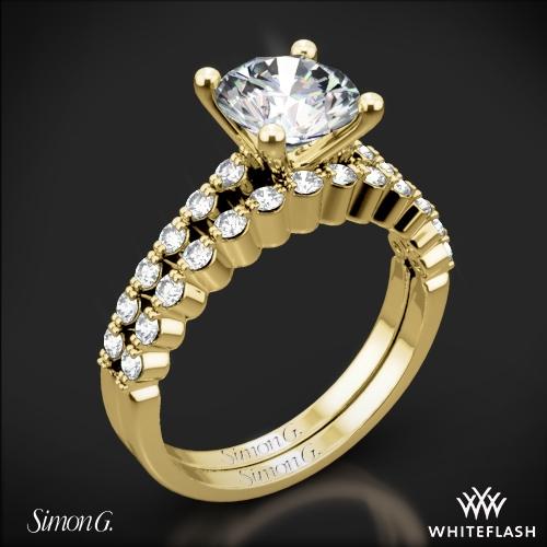 Simon G. MR2173 Delicate Diamond Wedding Set