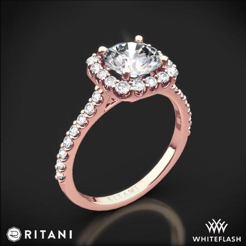 Ritani FrenchSet Cushion Halo Diamond Band Engagement Ring 4694
