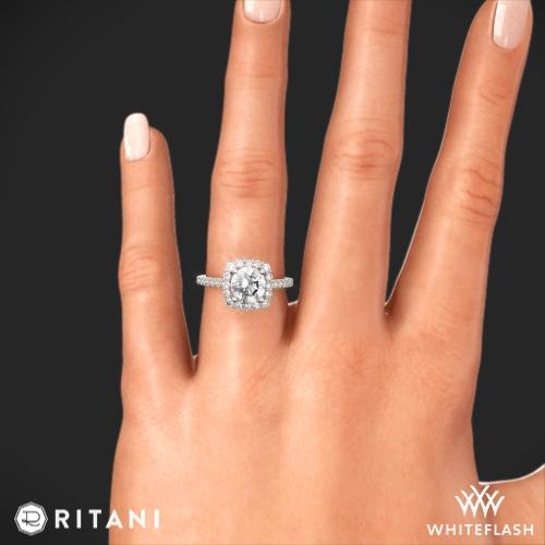 Ritani French Set Cushion Halo Diamond Band Engagement Ring