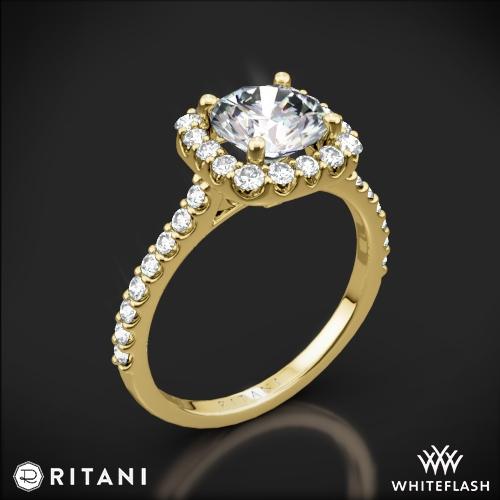 3de39f70b Ritani French-Set Cushion Halo Diamond Band Engagement Ring | 3380