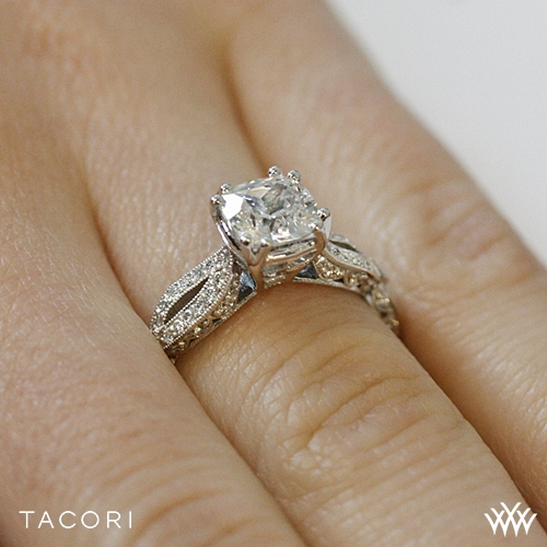 Tacori HT2528 CU 65 Ribbon Cushion Twist Diamond Engagement Ring 3278