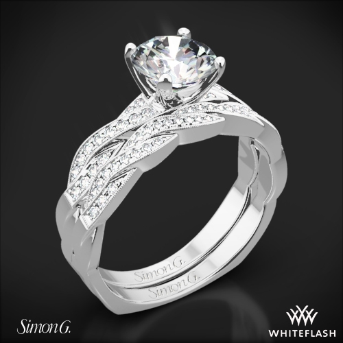 Simon G. MR1498-D Delicate Diamond Wedding Set