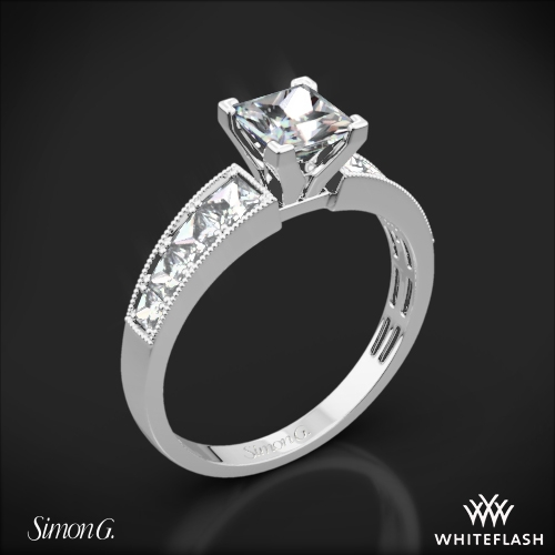 Simon G. MR1825-S Caviar Diamond Engagement Ring for Princess