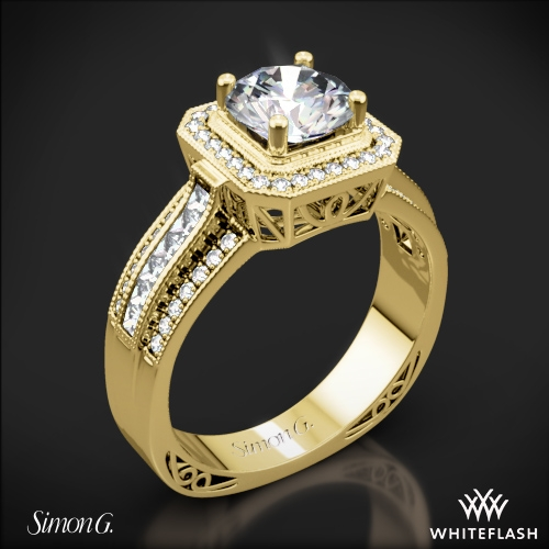 Simon G. NR453 Passion Halo Diamond Engagement Ring
