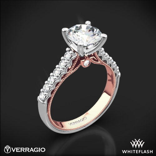 verragio 901r7 2t two tone diamond engagement ring 3651 - Two Tone Wedding Rings