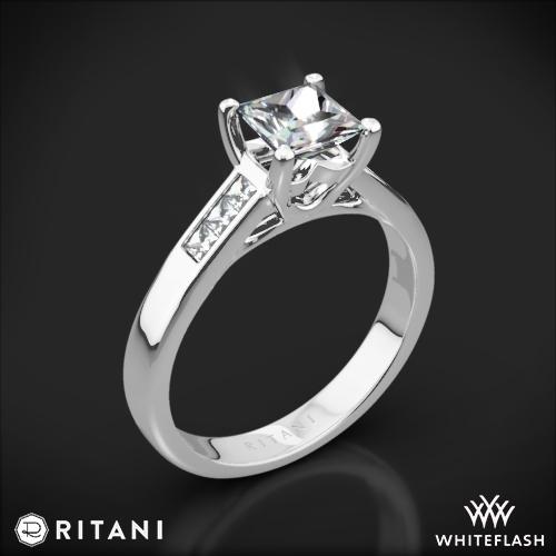 Ritani 1PCZ1193 Channel-Set Diamond Engagement Ring for Princess