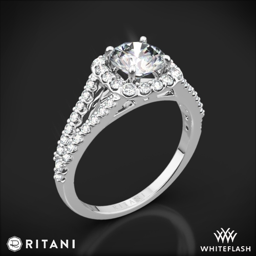 Ritani 1RZ1327 Cushion Halo V Diamond Engagement Ring