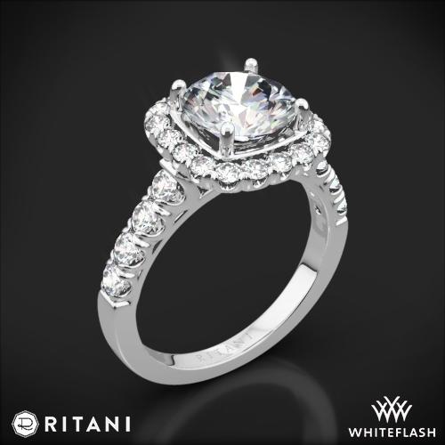 Ritani 1RZ2817 Masterwork Cushion Halo Diamond Engagement Ring