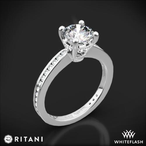 Ritani 1RZ3447 Tapered Channel-Set Diamond Engagement Ring