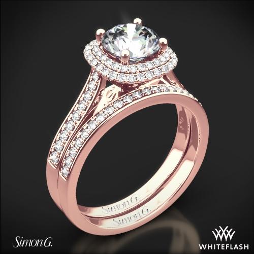 Simon G. MR2395 Passion Halo Diamond Wedding Set
