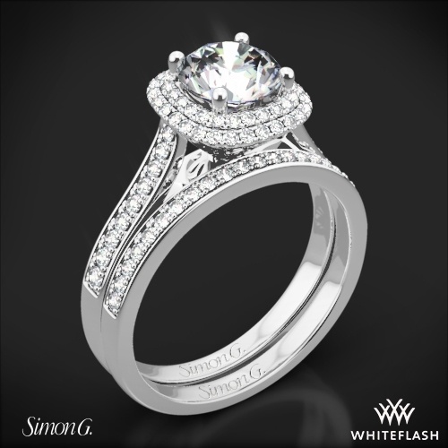 Simon G. MR2395 Passion Halo Diamond Wedding Set