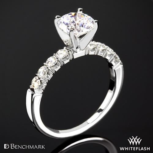 Benchmark CSPA4 Crescent Diamond Shared Prong Engagement Ring